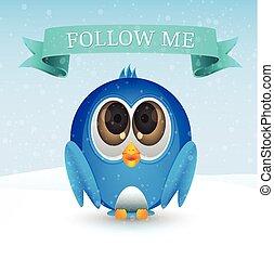 me, seguire, uccello, neve