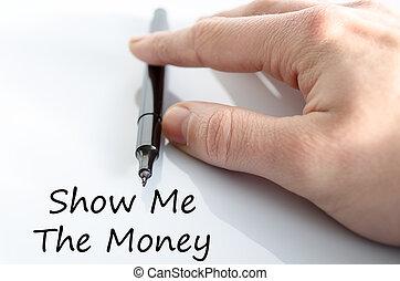 me, soldi, concetto, testo, mostra