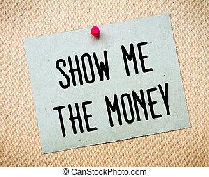 me, soldi, messaggio, mostra