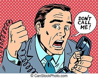 me, tension, appel téléphonique, pas, mâle