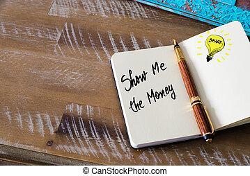 me, testo, scritto mano, soldi, mostra