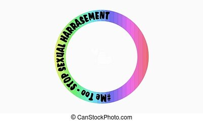 Me too campaigne logo with rainbow circle, title Stop Sexual...