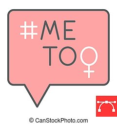 Me too color line icon, sexism and feminism, me too sign vector graphics, editable stroke filled outline icon, eps 10
