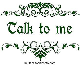 me, vert, cadre, text., parler