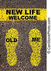 me, vita, vecchio, immagine, benvenuto, message., concettuale, nuovo