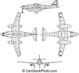Me262 - high detailed vector illustration of old military...