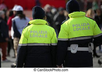 mea, dějiště, text, uniforma, policajt, polizia, italský
