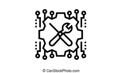 meachanical fix incident animated black icon. meachanical fix incident sign. isolated on white background