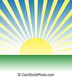 meadow., 上に, 日の出, ベクトル, 緑, 夜明け, 図画