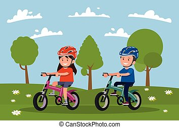 meadow., 女の子, cycling., bicycles, 行きなさい, 男の子, ドライブしなさい