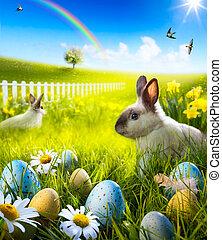 meadow., 芸術, 卵, うさぎ, イースターうさぎ