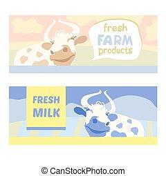 meadow., agricultural.cow., natural, vaca, banner., fazenda, editable, rústico, products., fresco, feliz