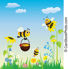 Meadow and bees - Flowering meadow and the bees collecting ...