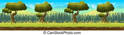 Meadow and forest, nature landscape, vector background