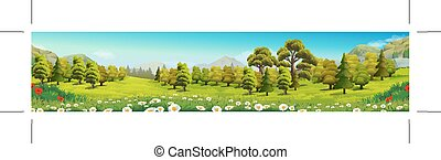 Луг и лес, природный пейзаж, векторный фон