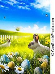 meadow., arte, ovos, coelho, bunny easter