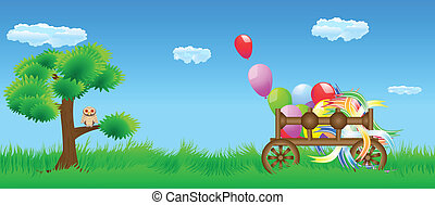 Meadow cart and owl