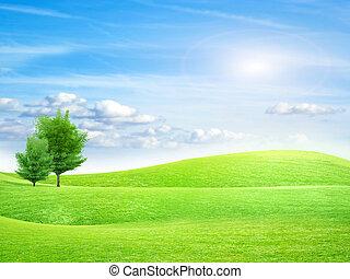 meadow - green abstract plain under solar sky