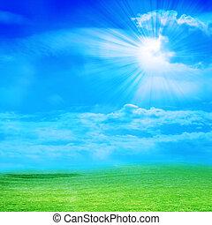 meadow - beautiful sky on green landscape