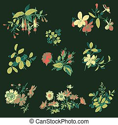 Meadow flower and leaf set vector isolated on black, floral dood
