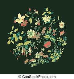 Meadow flower and leaf wreath isolated on black, circle doodle f