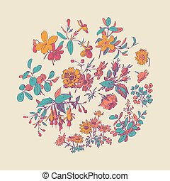 Meadow flower and leaf wreath isolated on beige, circle doodle f