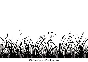 Meadow grass silhouette black and white