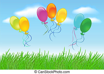 Meadow grass, sky, clouds and  balloons