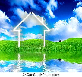 meadow., hus, fantasi, grön, färsk, vision