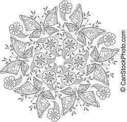 meadow., ilustración, mariposas, vector, mendie, mandala