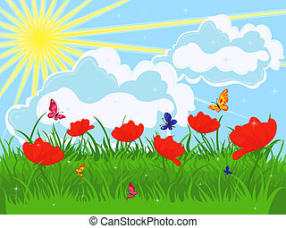Meadow in early summer. Red flowering poppies and green...