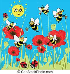 meadow., ladybirds, abelhas