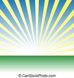 meadow., na, wschód słońca, wektor, zielony, świt, rysunek