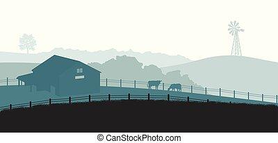 meadow., paisagem., poster., gado, vaca, fazenda, panorama, agricultor, paisagem, runch, silhuetas, vila, rural, casa