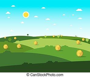 meadow., plat, sky., bleu, ensoleillé, vecteur, conception, field., jour, vide