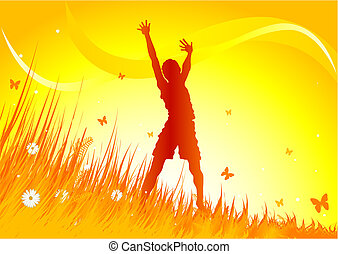 Meadow praise background - Silhouetted woman gimping with...