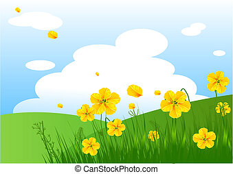 Meadow praise background - Summer grassy field and flowers...