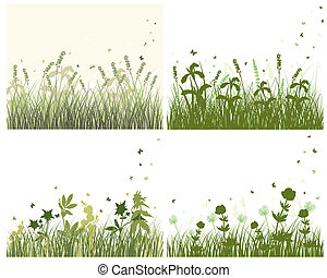 meadow silhouette set - Vector grass silhouette background ...