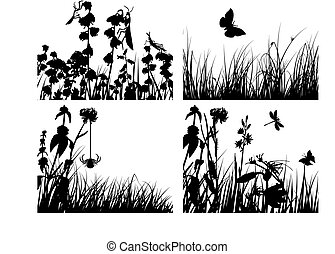 meadow silhouettes set