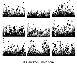 meadow silhouettes - Vector grass silhouettes backgrounds ...