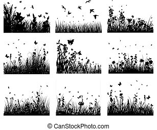 meadow silhouettes - Vector grass silhouettes backgrounds...