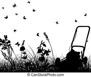 meadow silhouettes - Vector grass silhouettes with grass...
