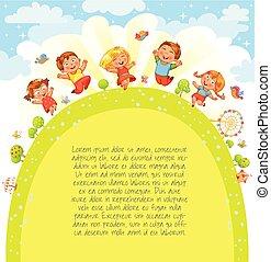 meadow., springende , werbung, schablone, broschüre, kinder