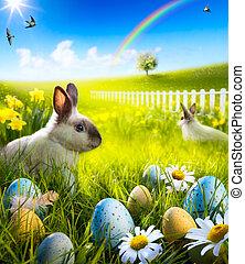 meadow., sztuka, jaja, królik, wielkanocna trusia