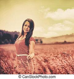 meadow., wandelende, beauty, kleur, surrealistisch, vrouwlijk, verticaal