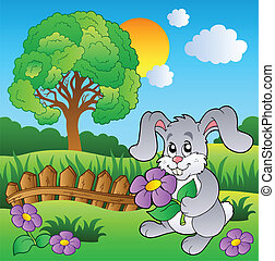 Meadow with bunny holding flower