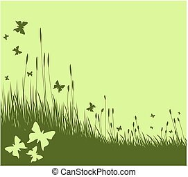 Meadow with butterflies.