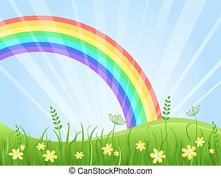 Meadow with Flowers and Rainbow