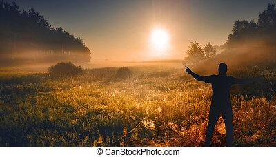 Meadow with man silhouette - Man silhouette on meadow at...