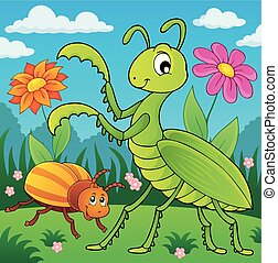 Meadow with praying mantis and bug - eps10 vector...
